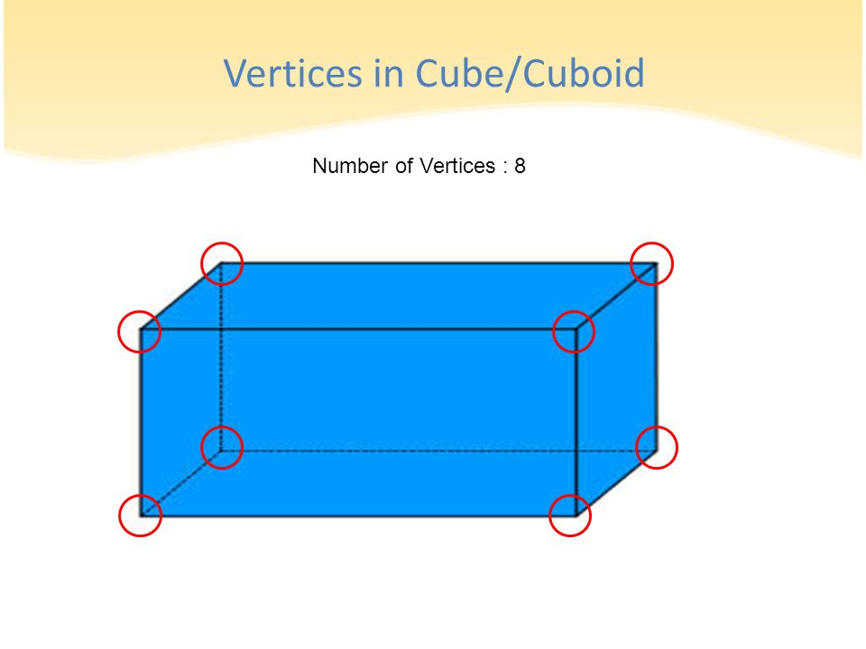 Number of Vertices : 8 Vertices in Cube/Cuboid