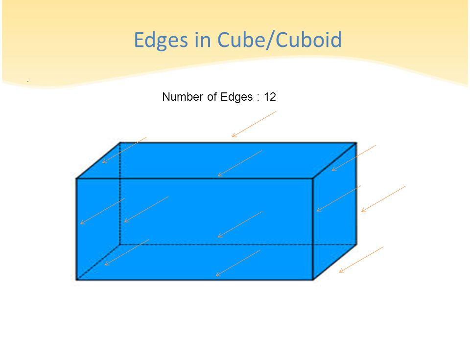 . Number of Edges : 12 Edges in Cube/Cuboid
