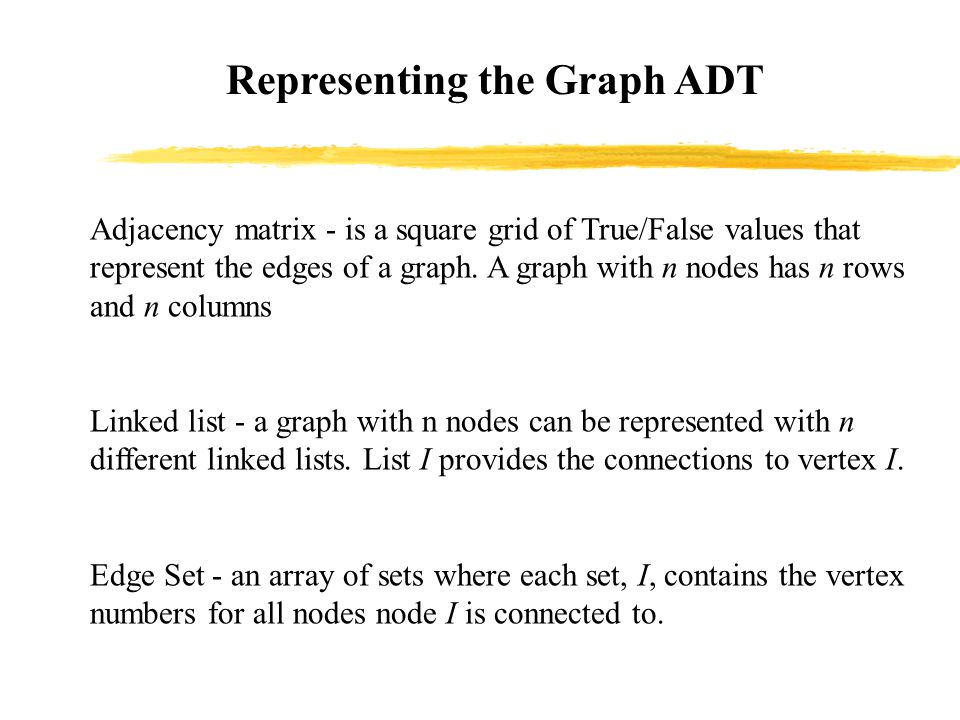 Representing the Graph ADT Adjacency matrix - is a square grid of True/False values that represent the edges of a graph.