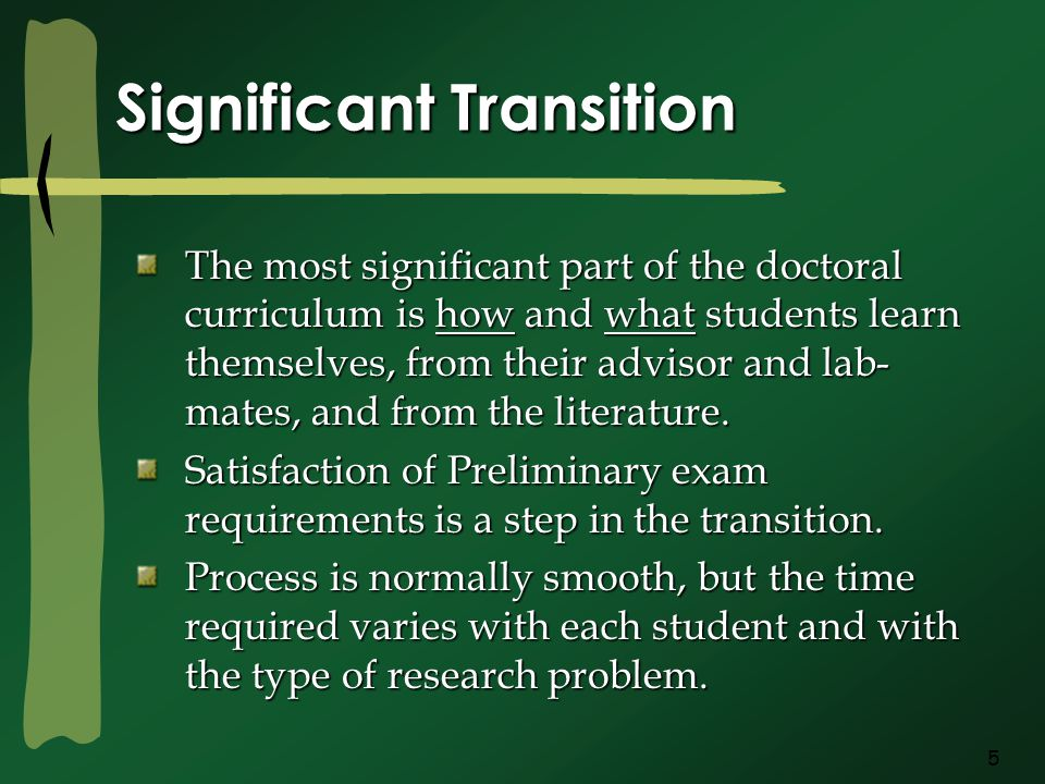 5 Significant Transition The most significant part of the doctoral curriculum is how and what students learn themselves, from their advisor and lab- mates, and from the literature.