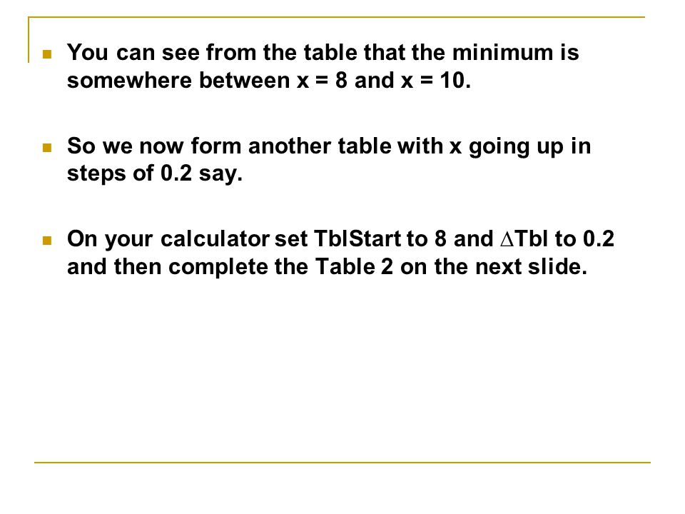 Table 1 Complete the table shown to show your results.