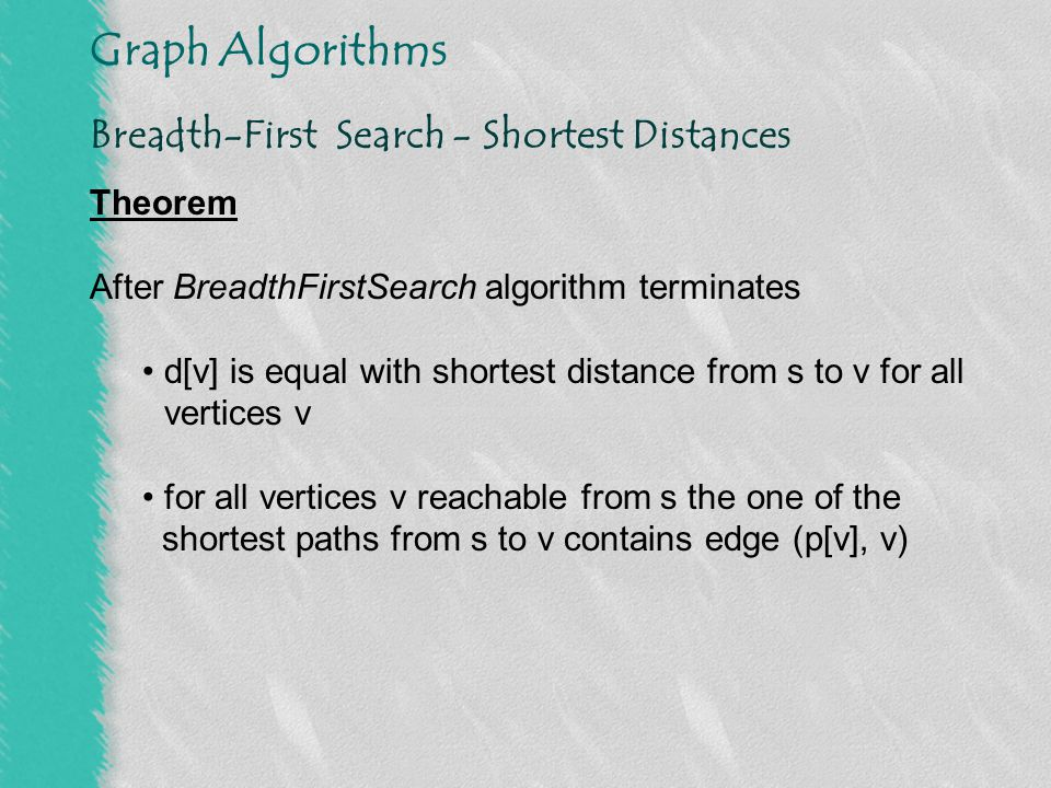 Graph Algorithms Depth-First Search - Algorithm DepthFirstSearch(graph G) for u  V[G] do colour[u]  white p[u]  0 time  0 for u  V[G] do if colour[v] = white then DFSVisit(v)