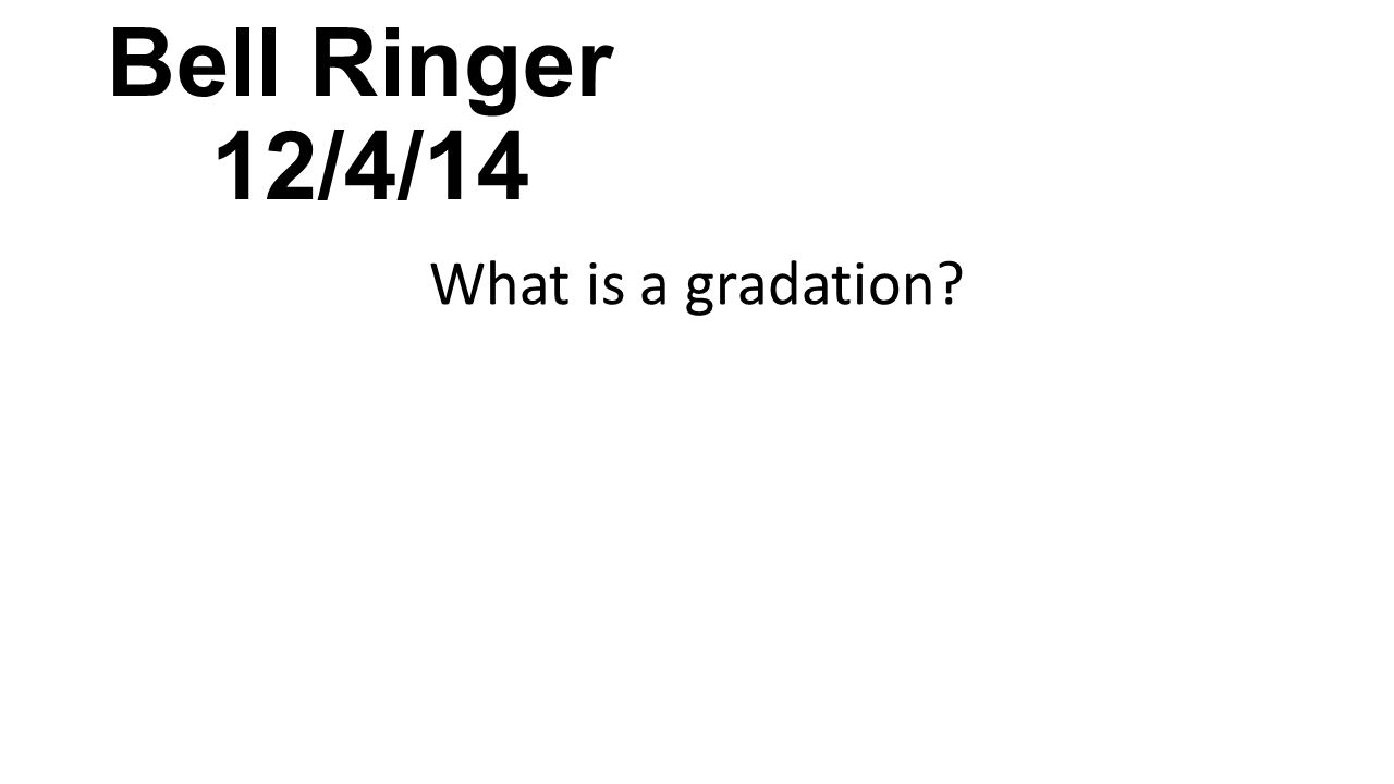 Bell Ringer 12/4/14 What is a gradation