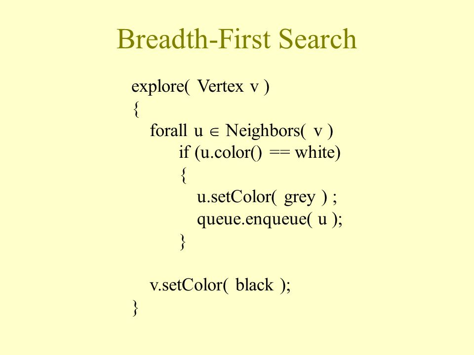 Breadth-First Search explore( Vertex v ) { forall u  Neighbors( v ) if (u.color() == white) { u.setColor( grey ) ; queue.enqueue( u ); } v.setColor( black ); }