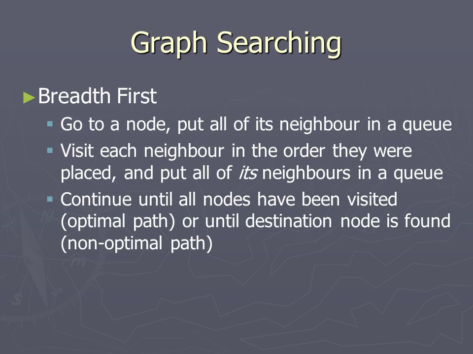 Graph Searching ► ► Breadth First   Go to a node, put all of its neighbour in a queue   Visit each neighbour in the order they were placed, and put all of its neighbours in a queue   Continue until all nodes have been visited (optimal path) or until destination node is found (non-optimal path)