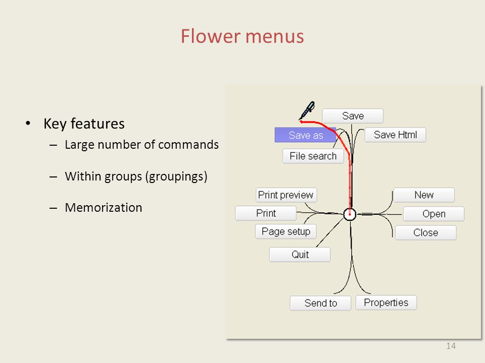 Flower menus Key features – Large number of commands – Within groups (groupings) – Memorization 14