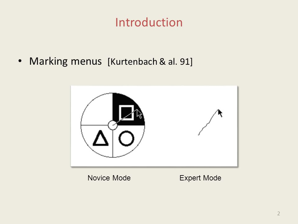 Introduction Marking menus [Kurtenbach & al. 91] Novice ModeExpert Mode 2
