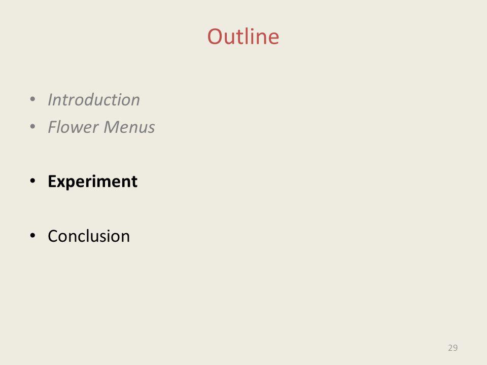 Outline Introduction Flower Menus Experiment Conclusion 29