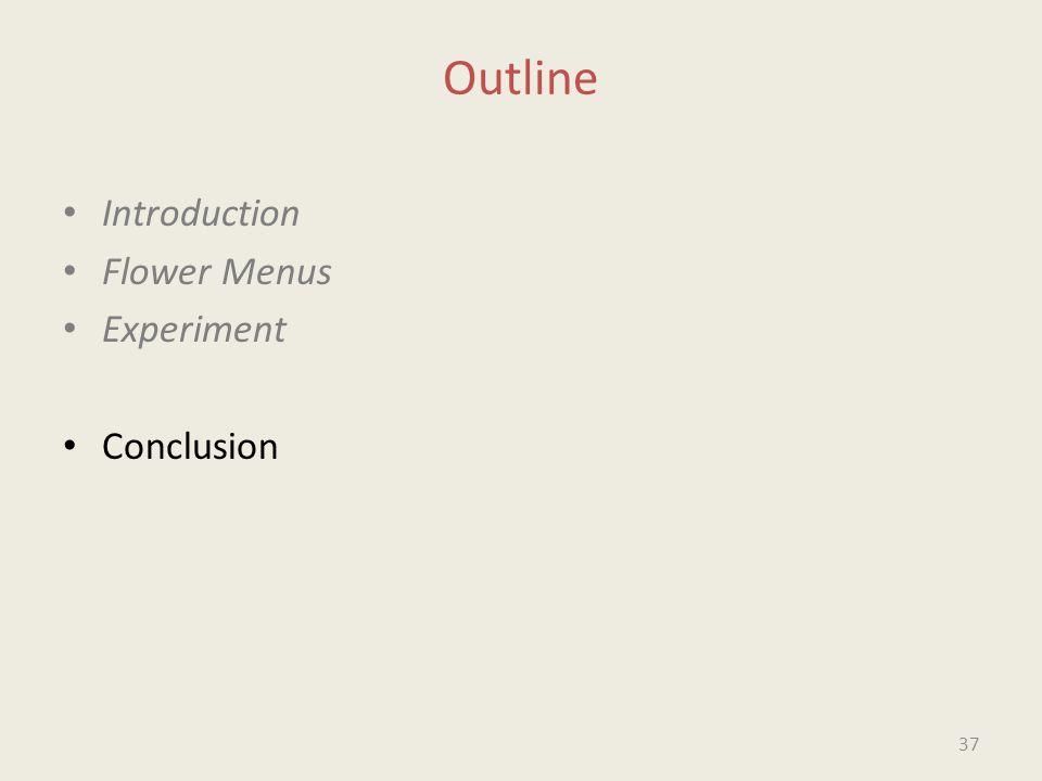 Outline Introduction Flower Menus Experiment Conclusion 37