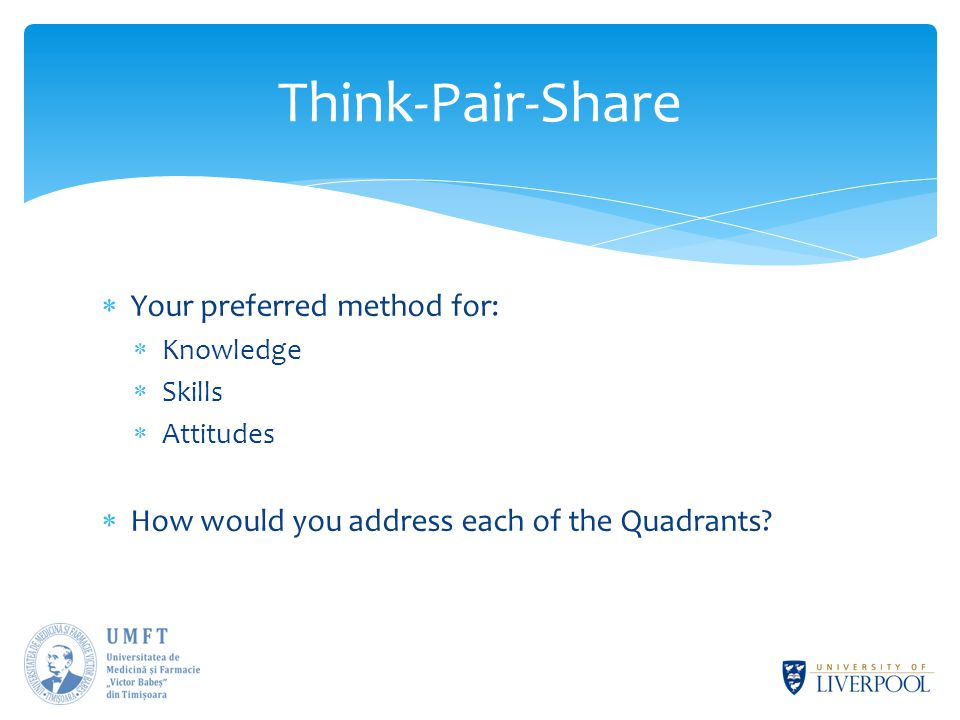  Your preferred method for:  Knowledge  Skills  Attitudes  How would you address each of the Quadrants.