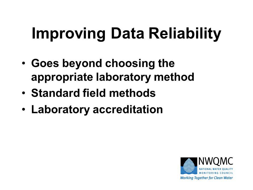 Improving Data Reliability Goes beyond choosing the appropriate laboratory method Standard field methods Laboratory accreditation
