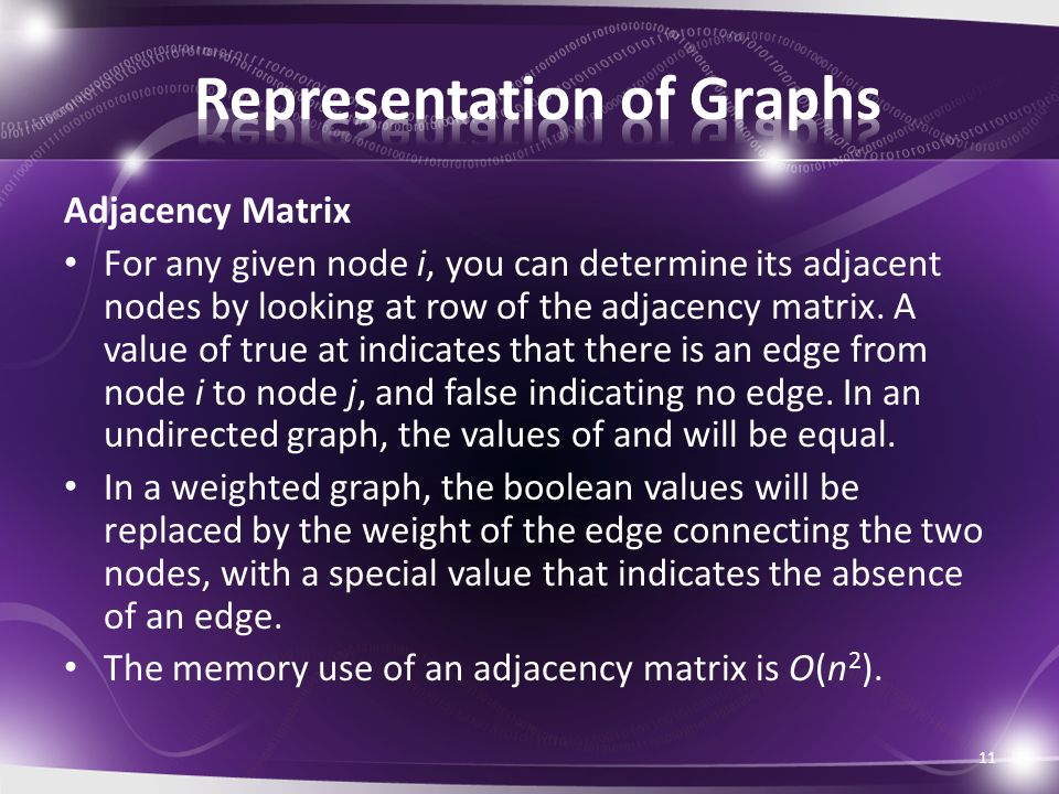 Adjacency Matrix For any given node i, you can determine its adjacent nodes by looking at row of the adjacency matrix.