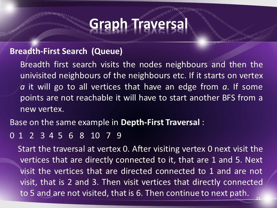 Breadth-First Search (Queue) Breadth first search visits the nodes neighbours and then the univisited neighbours of the neighbours etc.