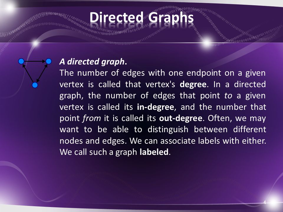 4 A directed graph. The number of edges with one endpoint on a given vertex is called that vertex's degree. In a directed graph, the number of edges t