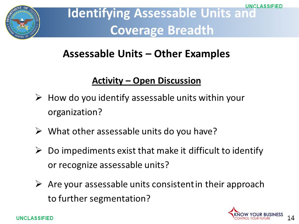 14 UNCLASSIFIED Assessable Units – Other Examples Activity – Open Discussion  How do you identify assessable units within your organization.