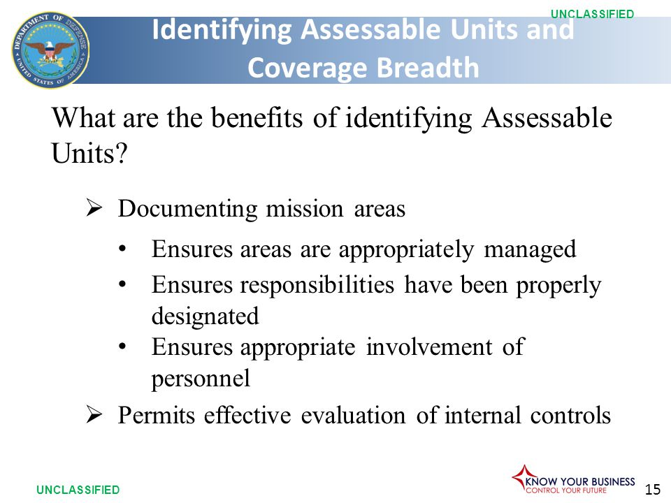 15 UNCLASSIFIED What are the benefits of identifying Assessable Units.