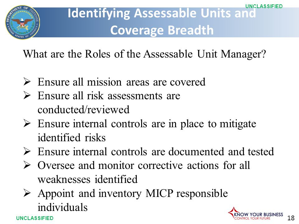 18 UNCLASSIFIED What are the Roles of the Assessable Unit Manager.
