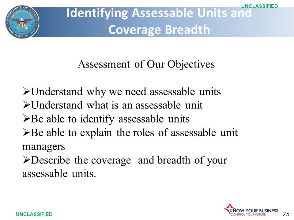 25 UNCLASSIFIED Assessment of Our Objectives  Understand why we need assessable units  Understand what is an assessable unit  Be able to identify a