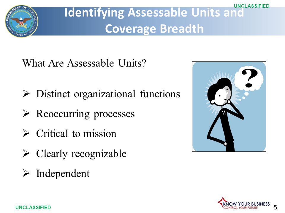 5 UNCLASSIFIED What Are Assessable Units.