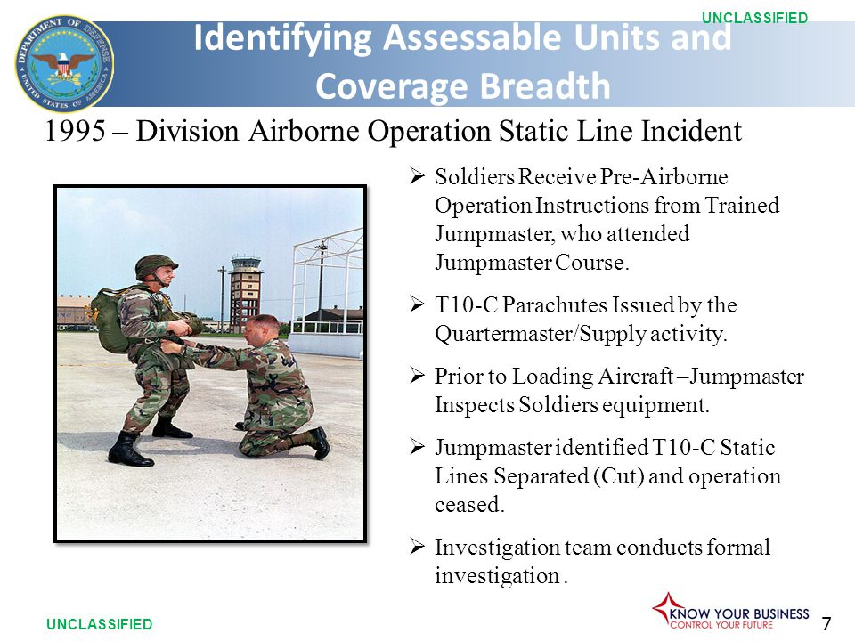7 UNCLASSIFIED  Soldiers Receive Pre-Airborne Operation Instructions from Trained Jumpmaster, who attended Jumpmaster Course.  T10-C Parachutes Issu
