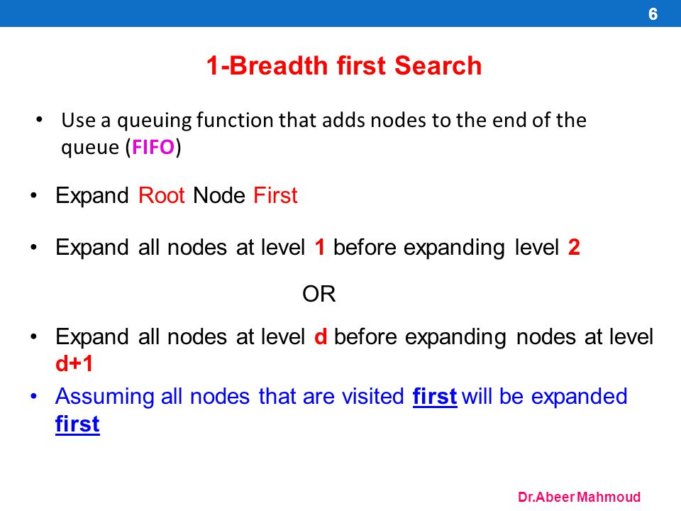 Dr.Abeer Mahmoud 1-Breadth first Search Use a queuing function that adds nodes to the end of the queue (FIFO) Expand Root Node First Expand all nodes
