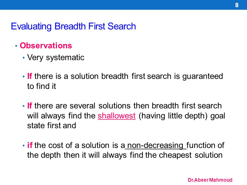 Dr.Abeer Mahmoud Evaluating Breadth First Search Space Complexity:1 + b + b 2 + b 3 +...