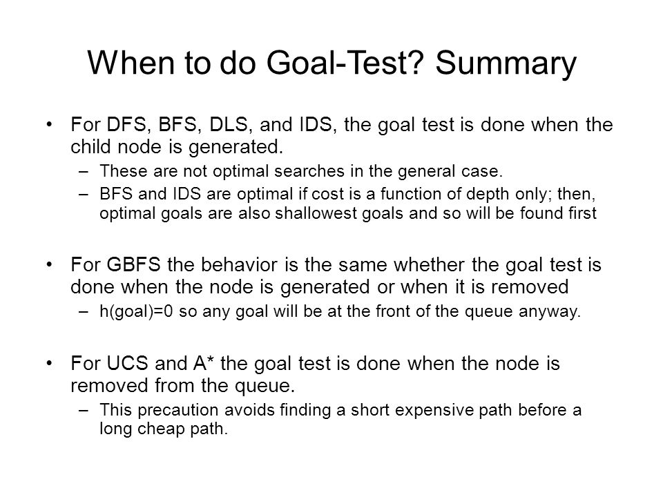 When to do Goal-Test.