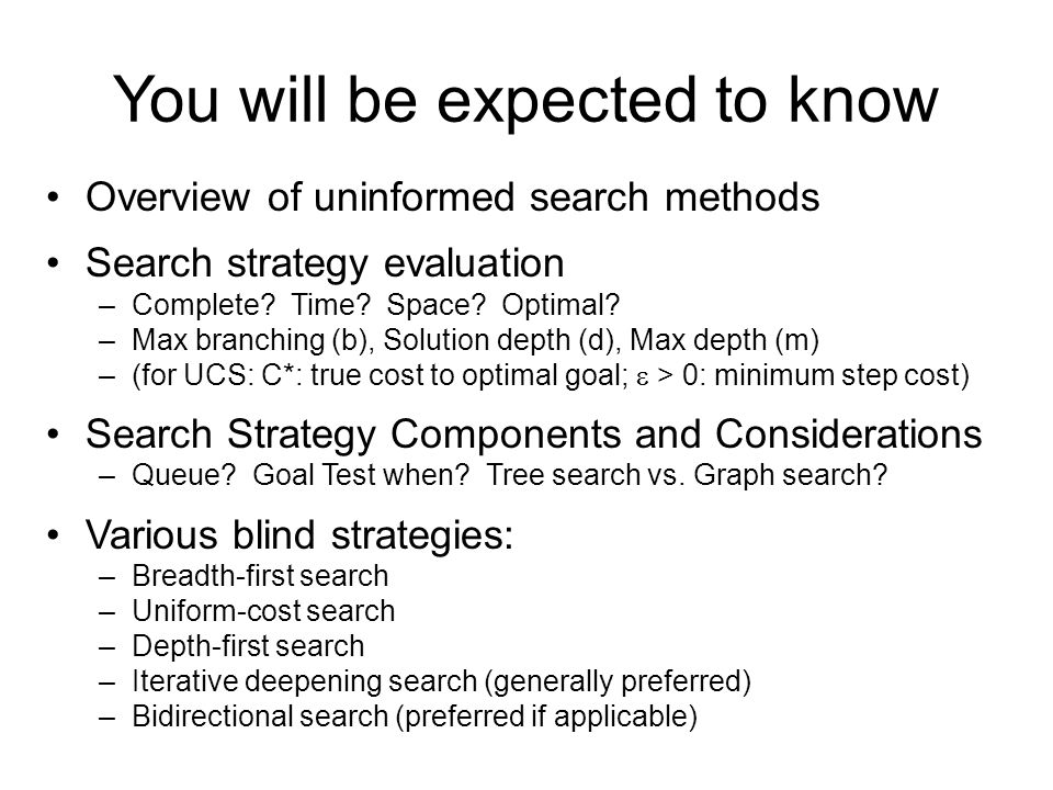 You will be expected to know Overview of uninformed search methods Search strategy evaluation –Complete.