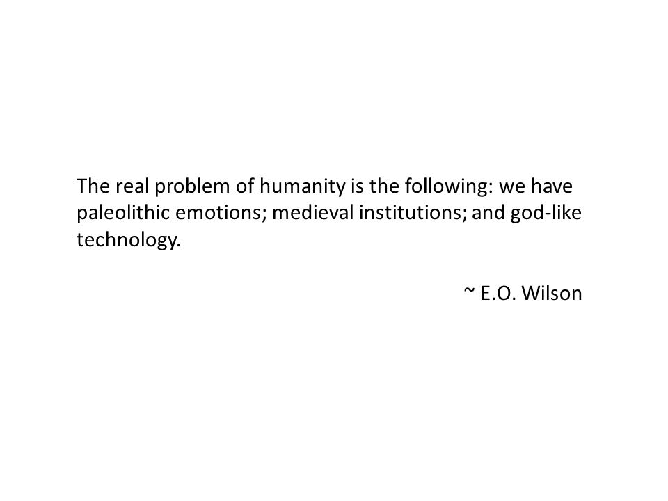 The real problem of humanity is the following: we have paleolithic emotions; medieval institutions; and god-like technology.