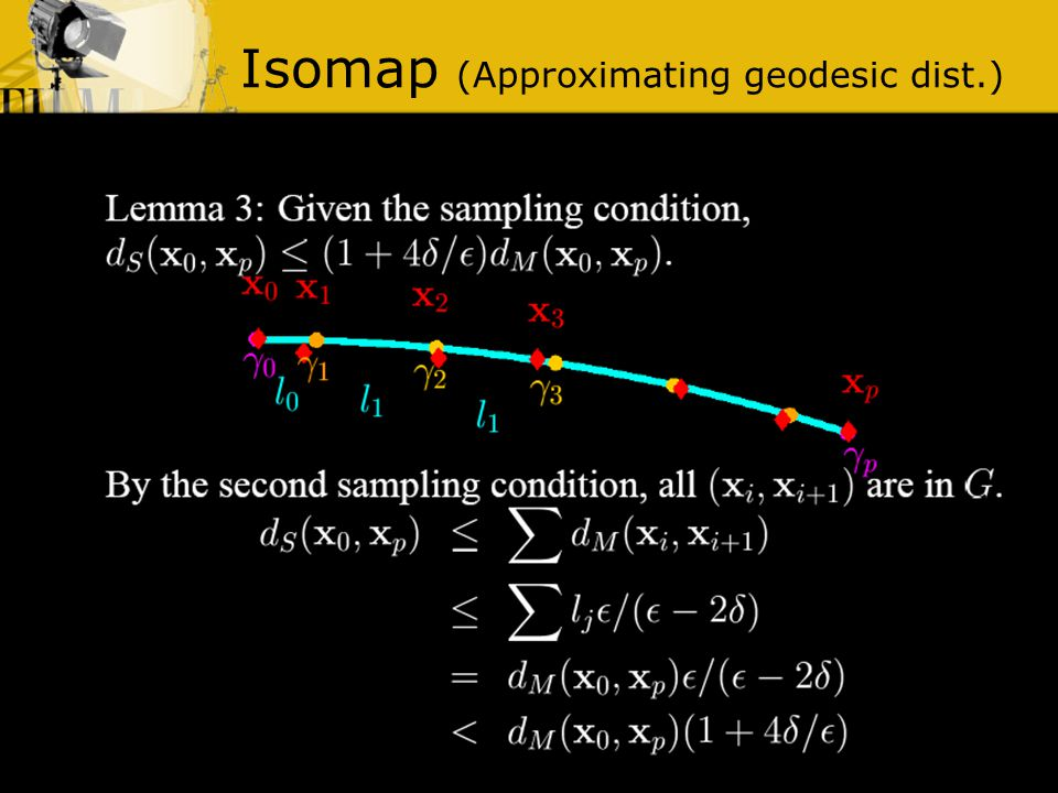 Isomap (Approximating geodesic dist.)