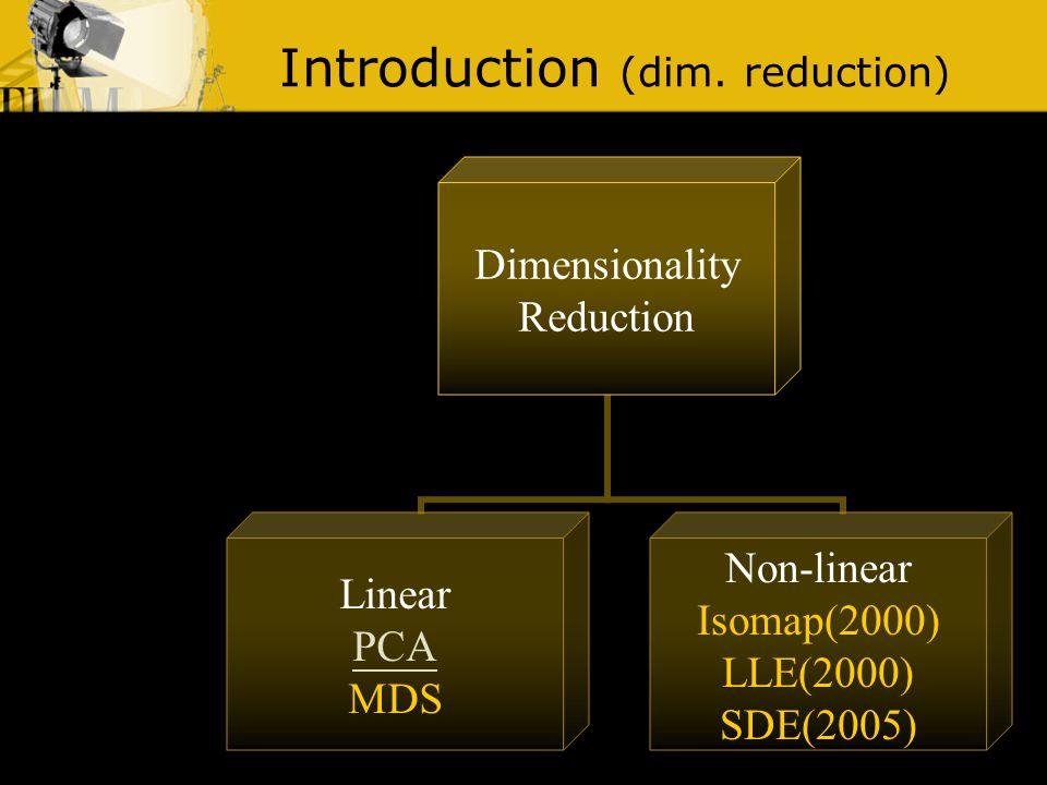 Introduction (dim. reduction) Principal Component Analysis x ∑