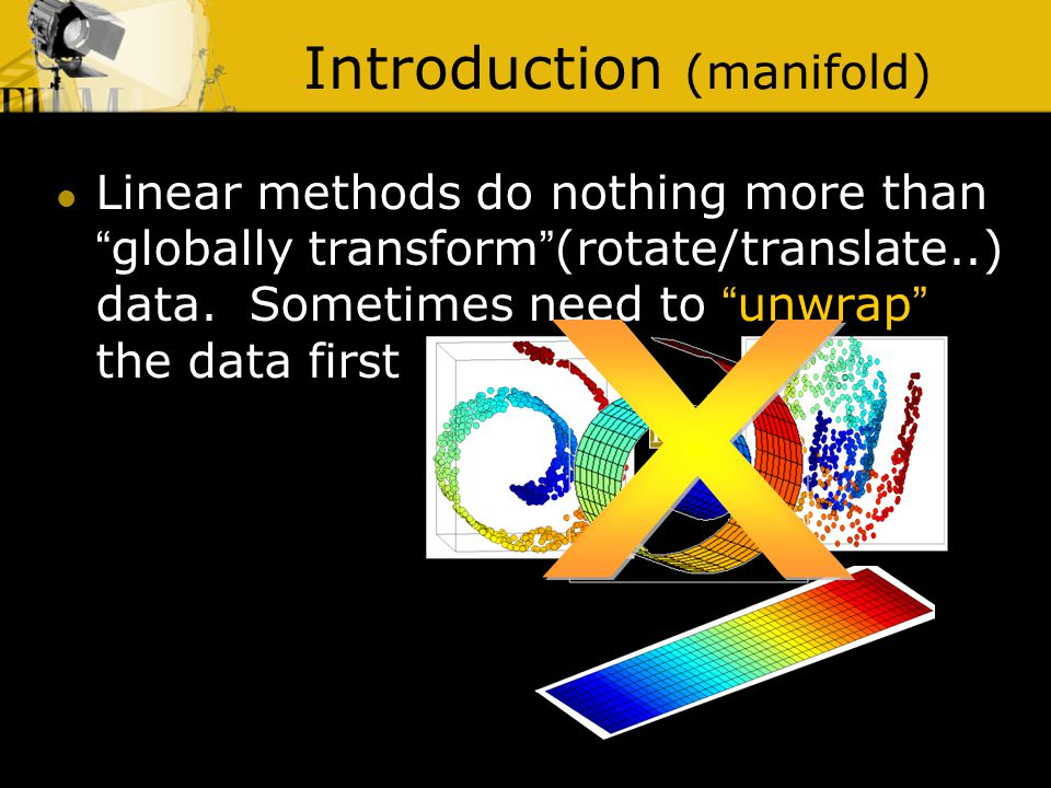 Introduction (manifold) Linear methods do nothing more than globally transform (rotate/translate..) data.
