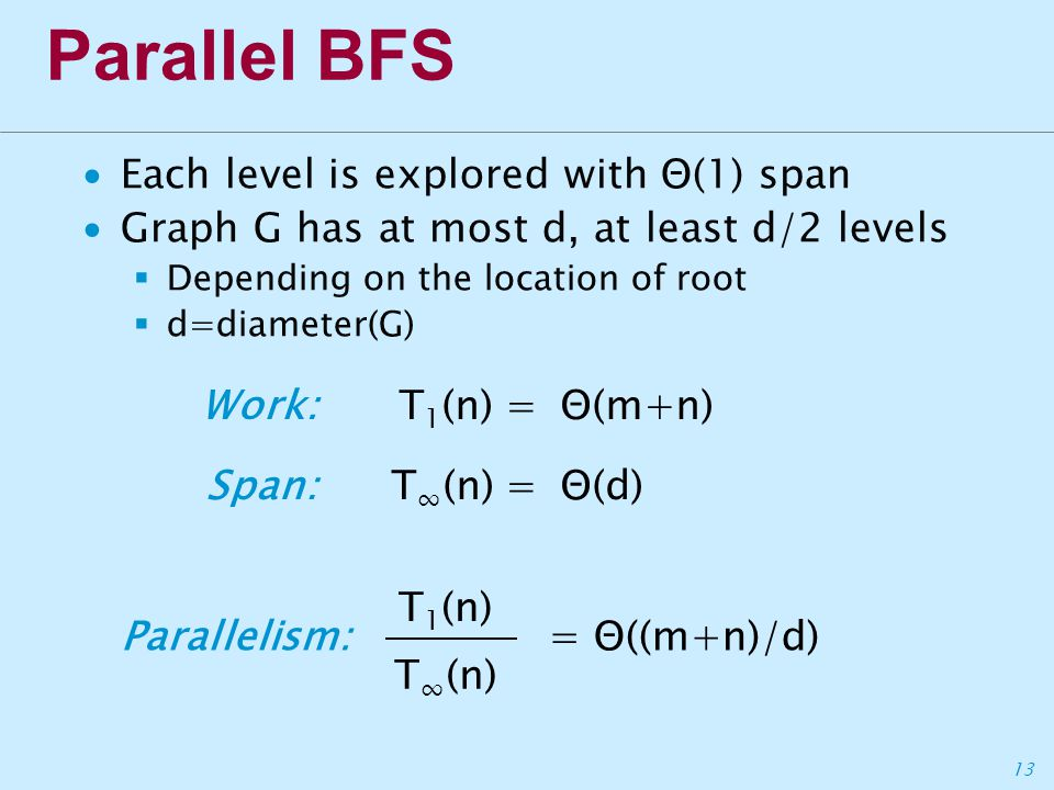 13 Parallel BFS ∙Each level is explored with Θ(1) span ∙Graph G has at most d, at least d/2 levels  Depending on the location of root  d=diameter(G) T 1 (n)= Θ(m+n)Work: T ∞ (n)= Θ(d)Span: Parallelism: T 1 (n) T ∞ (n) = Θ((m+n)/d)