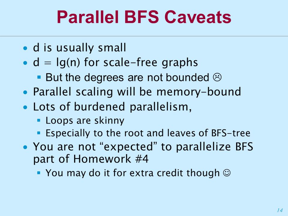 14 Parallel BFS Caveats ∙d is usually small ∙d = lg(n) for scale-free graphs  But the degrees are not bounded  ∙Parallel scaling will be memory-bound ∙Lots of burdened parallelism,  Loops are skinny  Especially to the root and leaves of BFS-tree ∙You are not expected to parallelize BFS part of Homework #4  You may do it for extra credit though