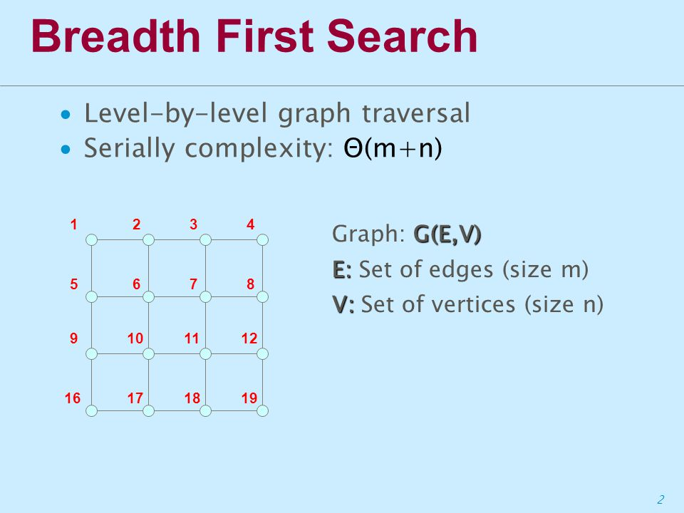 3 Breadth First Search ∙Level-by-level graph traversal ∙Serially complexity: Θ(m+n) Level 1 1234 5678 9101112 16171819 1