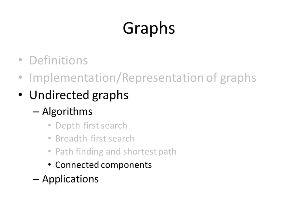Graphs Definitions Implementation/Representation of graphs Undirected graphs – Algorithms Depth-first search Breadth-first search Path finding and shortest path Connected components – Applications