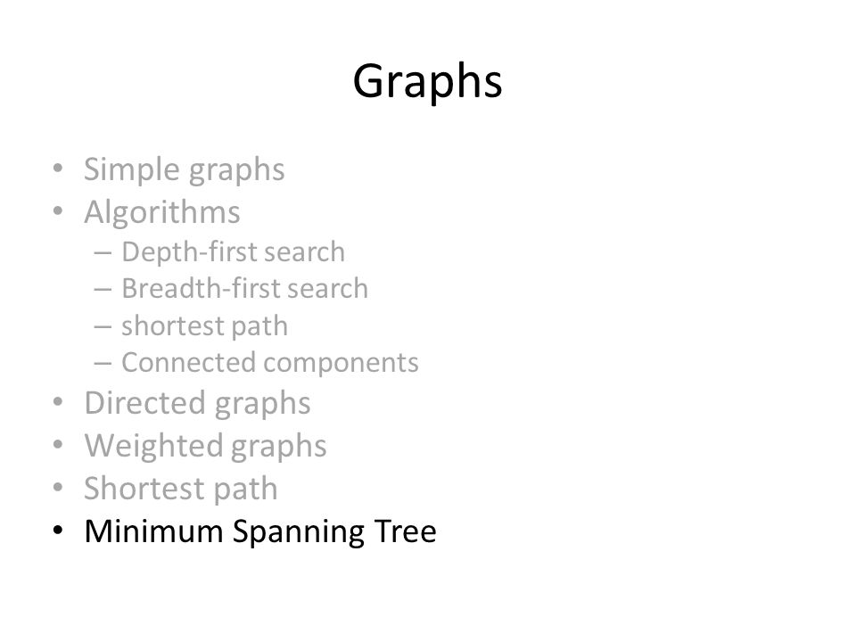 Graphs Simple graphs Algorithms – Depth-first search – Breadth-first search – shortest path – Connected components Directed graphs Weighted graphs Shortest path Minimum Spanning Tree