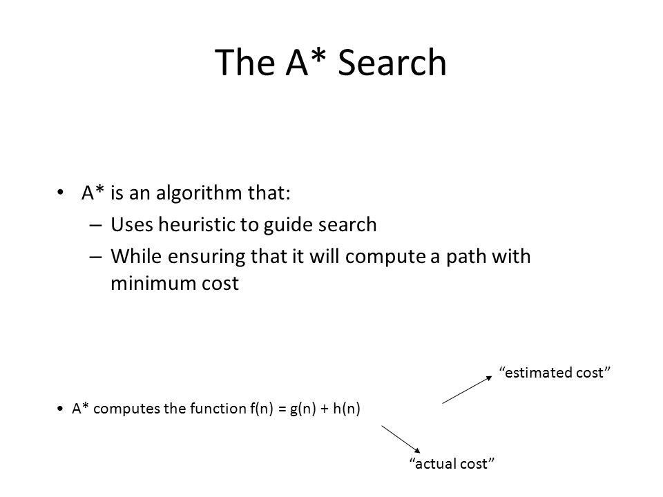 The A* Search A* is an algorithm that: – Uses heuristic to guide search – While ensuring that it will compute a path with minimum cost A* computes the function f(n) = g(n) + h(n) actual cost estimated cost
