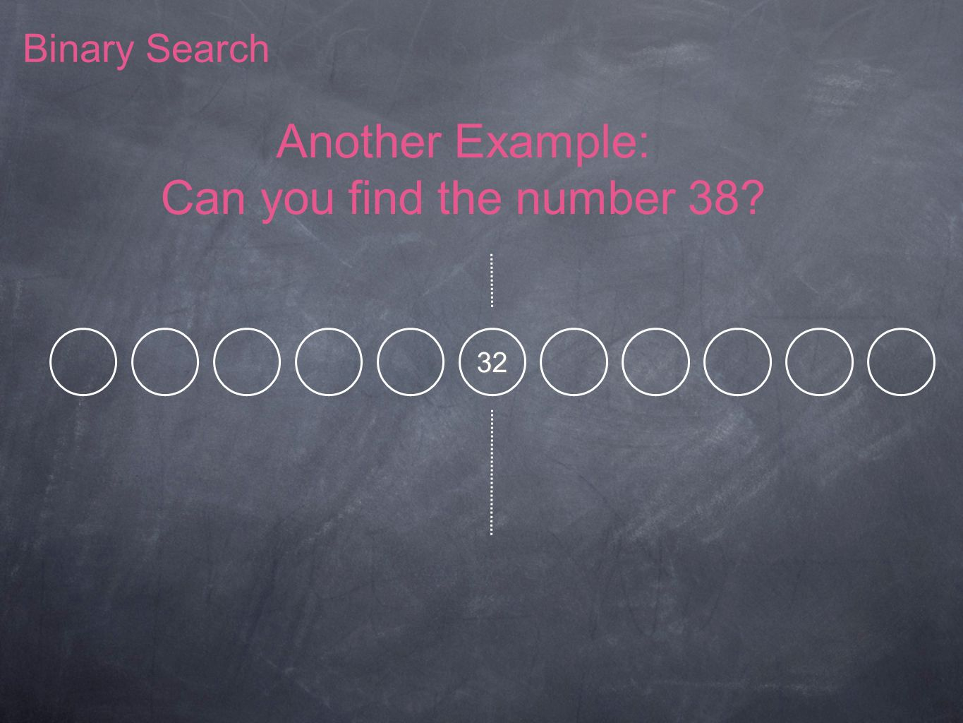 Binary Search Another Example: Can you find the number 38? 32