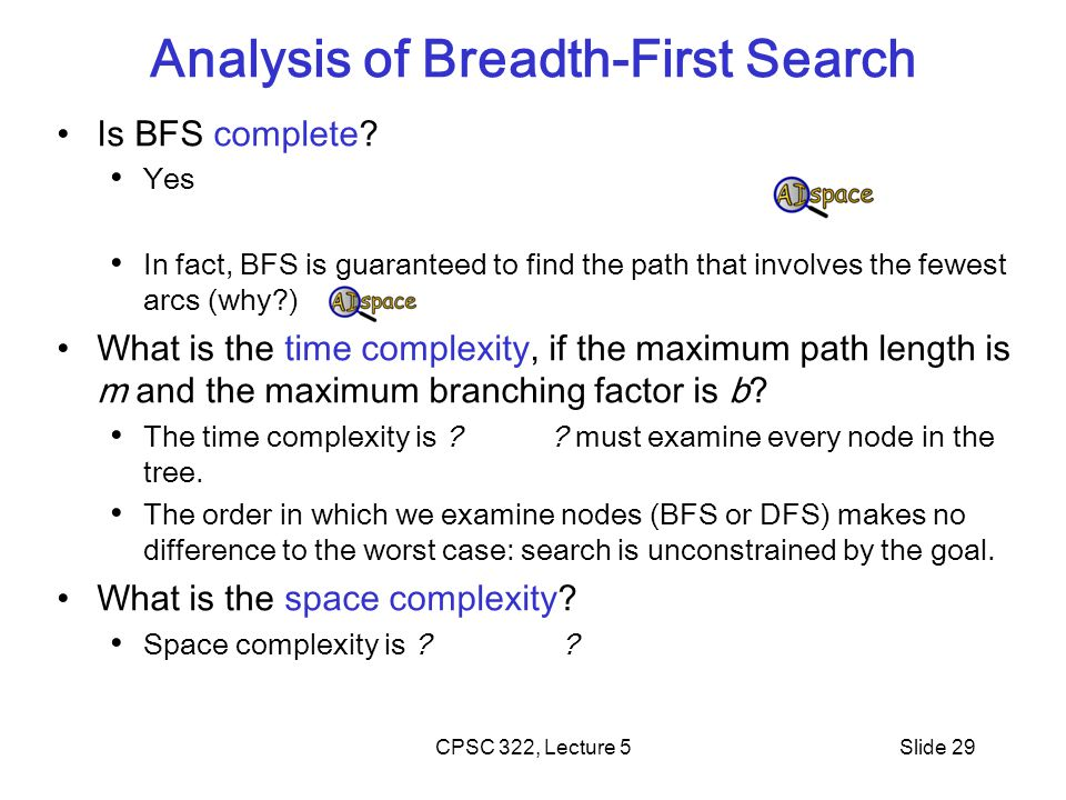 CPSC 322, Lecture 5Slide 29 Analysis of Breadth-First Search Is BFS complete? Yes In fact, BFS is guaranteed to find the path that involves the fewest