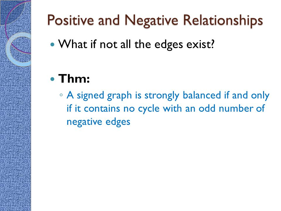 Positive and Negative Relationships What if not all the edges exist? Thm: ◦ A signed graph is strongly balanced if and only if it contains no cycle wi