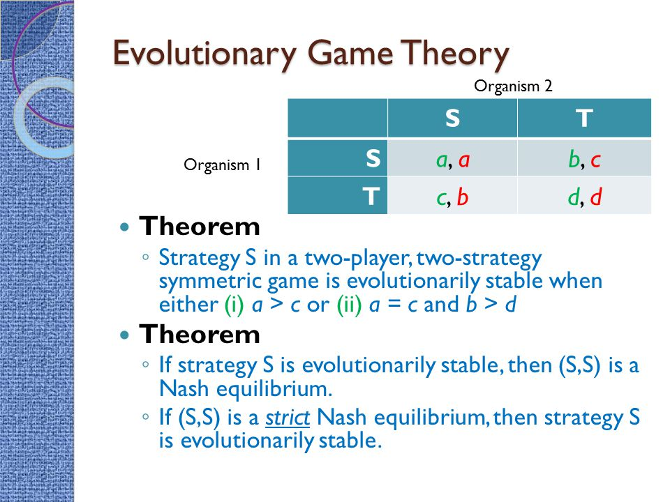Evolutionary Game Theory Theorem ◦ Strategy S in a two-player, two-strategy symmetric game is evolutionarily stable when either (i) a > c or (ii) a =
