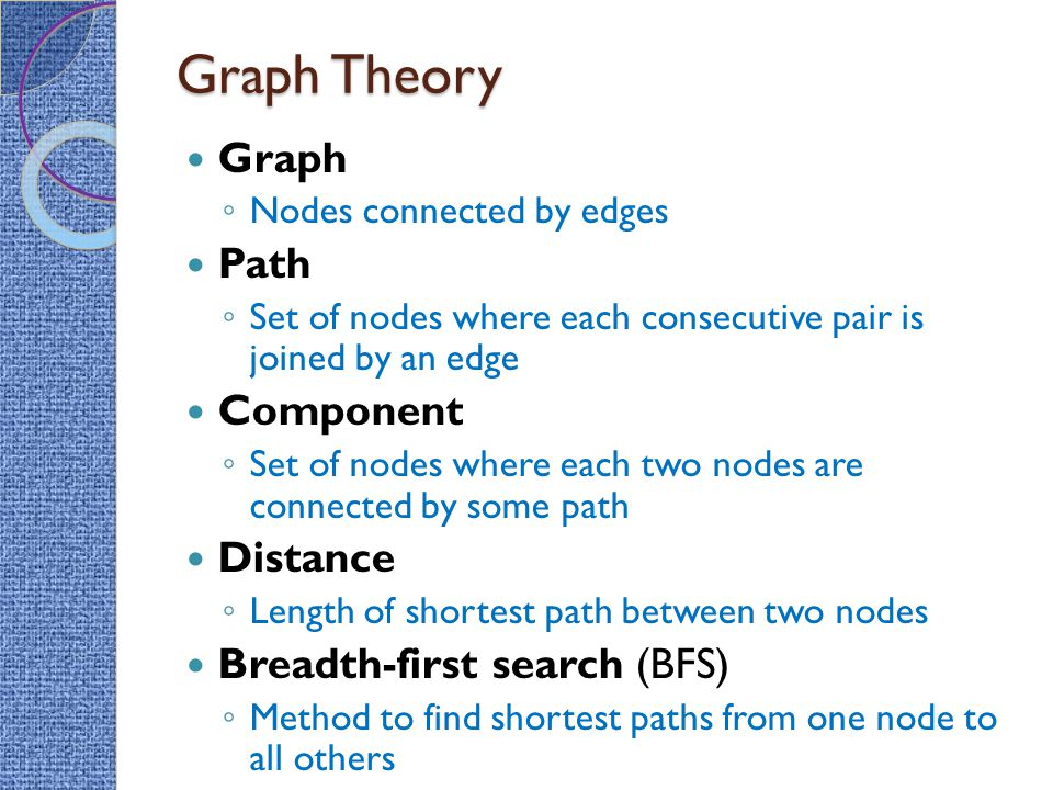 Graph Theory Graph ◦ Nodes connected by edges Path ◦ Set of nodes where each consecutive pair is joined by an edge Component ◦ Set of nodes where each