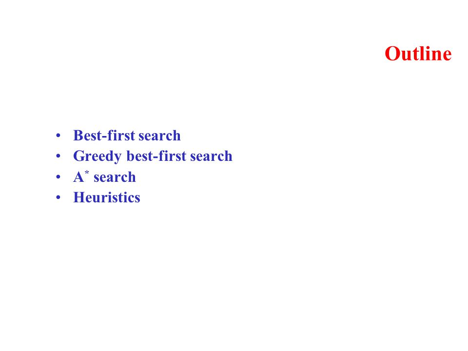 Outline Best-first search Greedy best-first search A * search Heuristics