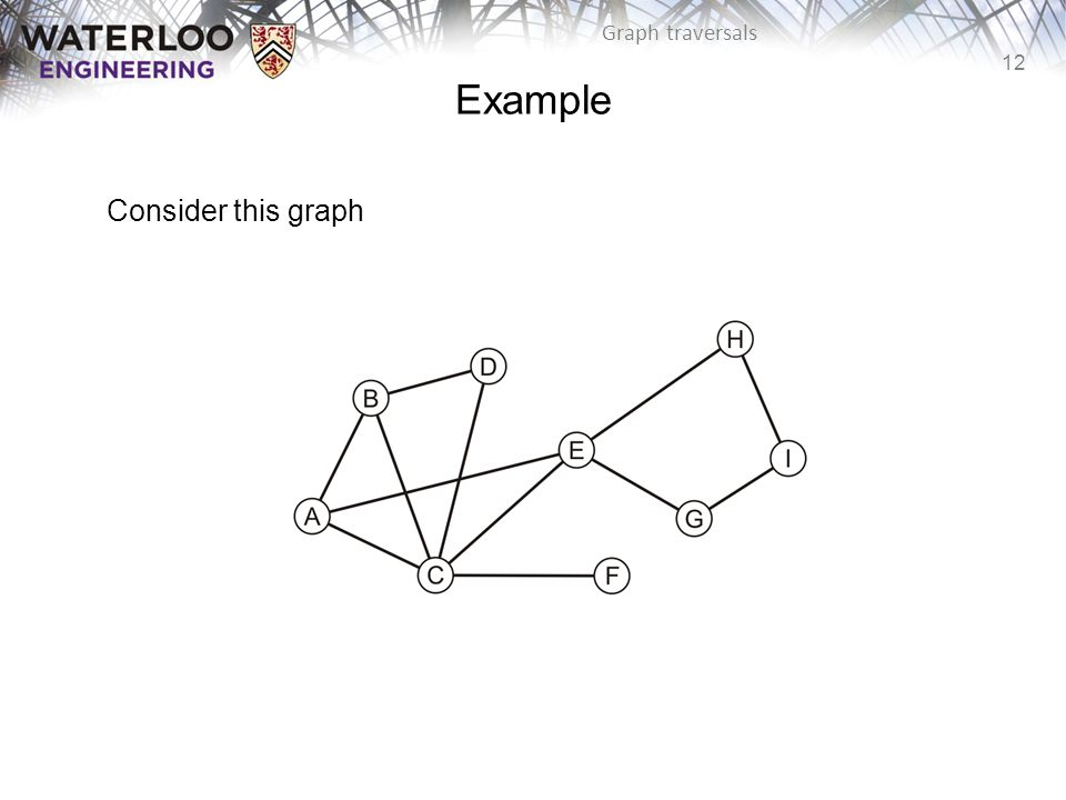 12 Graph traversals Example Consider this graph