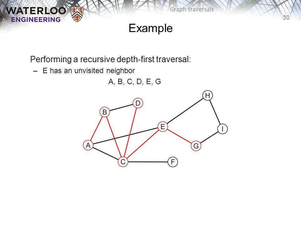 30 Graph traversals Example Performing a recursive depth-first traversal: –E has an unvisited neighbor A, B, C, D, E, G