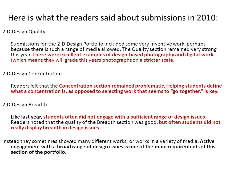 Here is what the readers said about submissions in 2010: 2-D Design Quality Submissions for the 2-D Design Portfolio included some very inventive work, perhaps because there is such a range of media allowed.