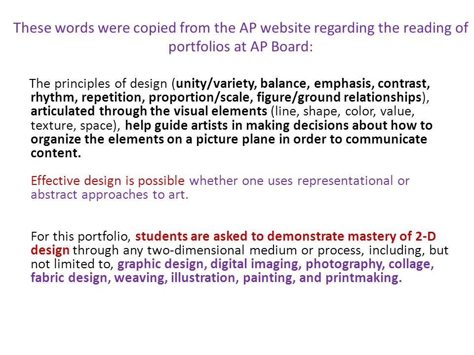 List each breadth piece below:Principle of Design it represents: 1.