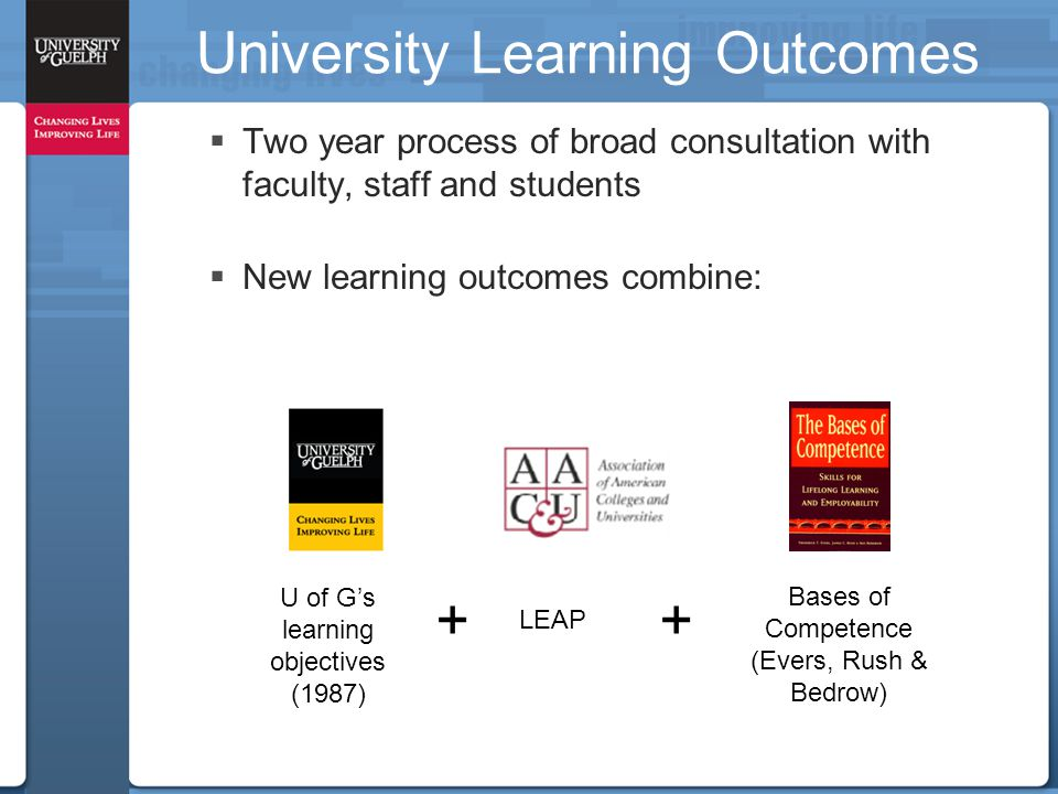 University Learning Outcomes  Two year process of broad consultation with faculty, staff and students  New learning outcomes combine: U of G's learning objectives (1987) LEAP + Bases of Competence (Evers, Rush & Bedrow) +