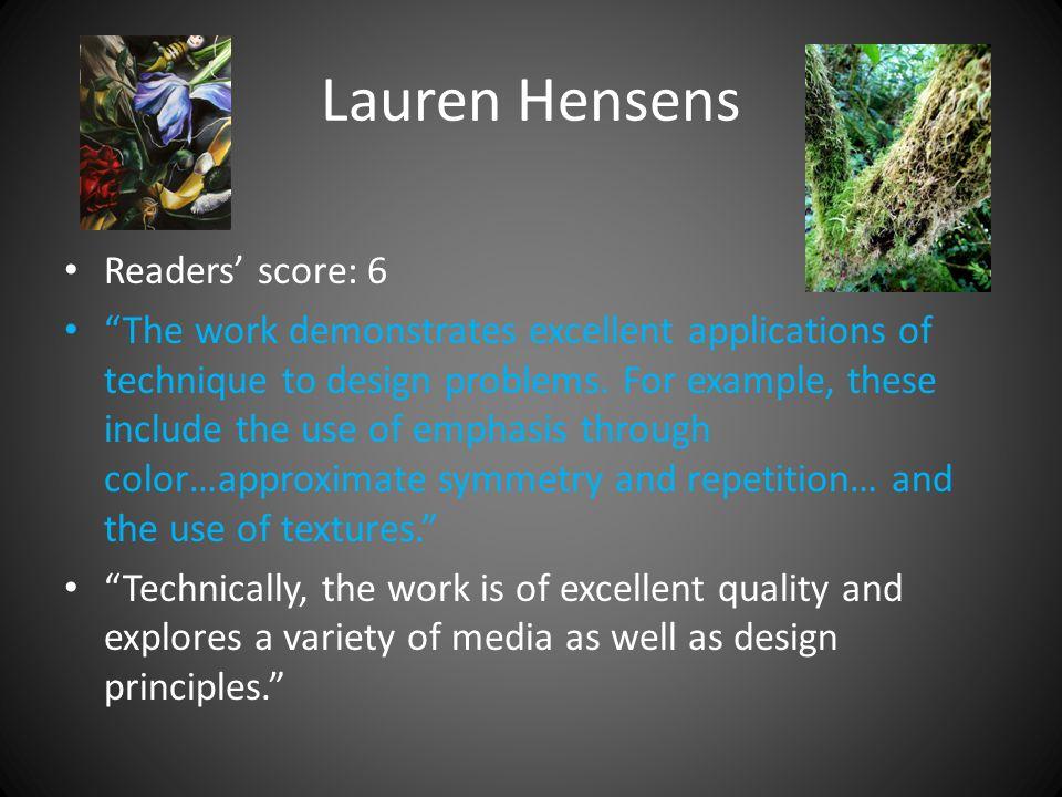 Lauren Hensens Readers' score: 6 The work demonstrates excellent applications of technique to design problems.